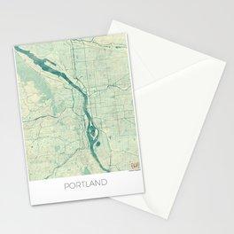 Portland Map Blue Vintage Stationery Cards