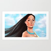 pocahontas Art Prints featuring Pocahontas by Sam Pea