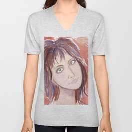 Portrait of a girl with green eyes and brown hair Unisex V-Neck