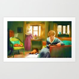 Victorian Day with Cat and Dog (The Misses Boylston) Art Print