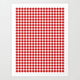 Small Diamonds - White and Red Art Print