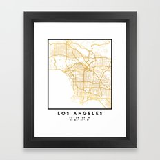 LOS ANGELES CALIFORNIA CITY STREET MAP ART Framed Art Print