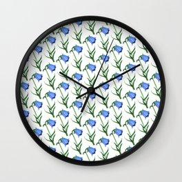 Watercolor hand-drawn flowers pattern  Wall Clock