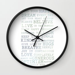 Blue green ombre posi Wall Clock