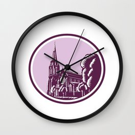 Christchurch Cathedral Woodcut Retro Wall Clock