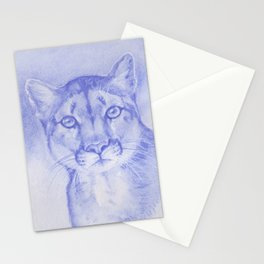 Blue Mountain Lion Watercolor Stationery Cards