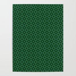 Emerald Green Diamond Pattern Poster