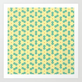 Scattered Teal Yellow Pattern Art Print