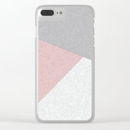 Pink, gray, white, pechvork. Clear iPhone Case
