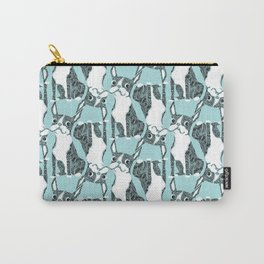 Boston Terrier Topsy Turvy Black, White and Blue Carry-All Pouch
