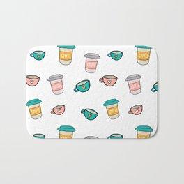 Happy coffee cups and mugs Bath Mat