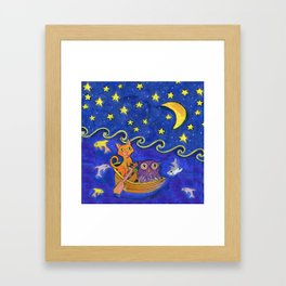 Owl and Pussycat rowed at night Framed Art Print