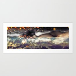 Bed from a River [Digital Figure Illustration] Red Skies version Art Print