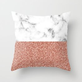 dip-dyed marble – rose gold (faux) glitter Throw Pillow