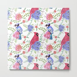 Cardinals and blue jays with floral blooms Metal Print