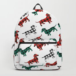 Christmas Dachshunds Red Flannel Backpack