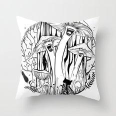 The Singing Mushrooms & The Zebra Cat Throw Pillow