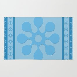 Blue Flower Block Rug