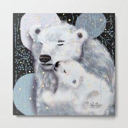 Mom and Baby // Winter polar bears  Metal Print