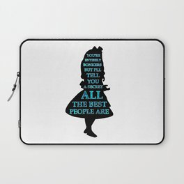 Alice In Wonderland - Watercolor Text -  Have I Gone Bonkers Quote Laptop Sleeve