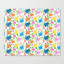 watercolor spring flower pattern Canvas Print