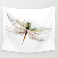 dragonfly Wall Tapestries featuring dragonfly by tatiana-teni