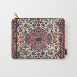 Persian Isfahan Old Century Authentic Colorful Blue Creme Vintage Rug Pattern Carry-All Pouch