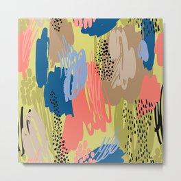 Modern coral brown blue black abstract brushstrokes Metal Print