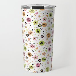 I love Cats - Cat Lovers Heart Flower Meadow - Pink & Spring Green Feline Meow Travel Mug