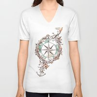 map V-neck T-shirts featuring Bon Voyage by Norman Duenas