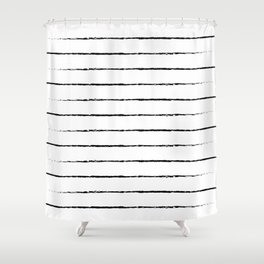 Minimal Simple White Background Black Lines Stripes Shower Curtain