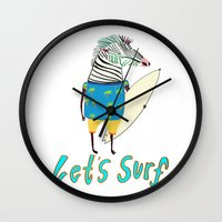 surfboard Wall Clocks featuring Surfer, surfing, surfboard,  by Ashley Percival illustration