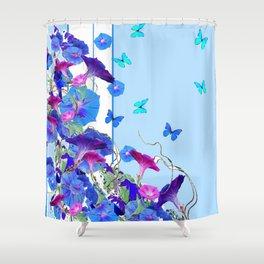 BLUE BUTTERFLIES & PURPLE MORNING GLORIES Shower Curtain