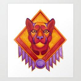Fire Cougar Art Print