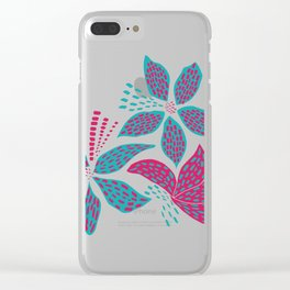 Pink and blue flowers Clear iPhone Case