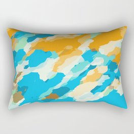 blue orange and brown dirty painting abstract background Rectangular Pillow