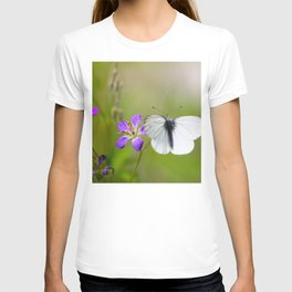 White Butterfly Natural Background T-shirt