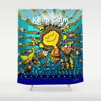 keep calm Shower Curtains featuring Keep Calm! by Kris Tsang