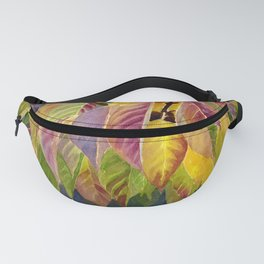 Magenta and Yellow, Green Fall Leaves Fanny Pack