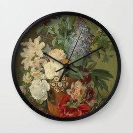 Albertus Jonas Brandt - Flowers in a terra cotta vase Wall Clock