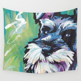 Fun Schnauzer Dog Portrait bright colorful Pop Art Painting by LEA Wall Tapestry