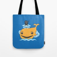 surfing Tote Bags featuring Surfing by Hagu
