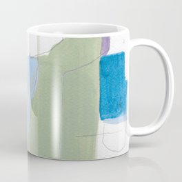 stone by stone 1 - abstract art fresh color turquoise, mint, purple, white, gray Coffee Mug