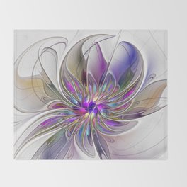 Energetic, Abstract And Colorful Fractal Art Flower Throw Blanket