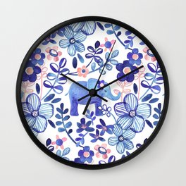 Pale Coral, White and Purple Elephant and Floral Watercolor Pattern Wall Clock