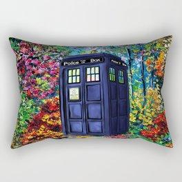 Tardis Flowers Painting Rectangular Pillow