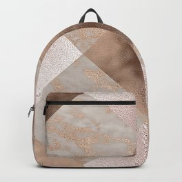 Copper and Blush Rose Gold Marble Gingham Backpack