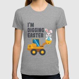 Kids Easter Digger product Bunny Backhoe Boys Girls Construction design T-shirt