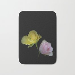flowers on black - yellow and pink rosebud for curtains and homeproducts Bath Mat