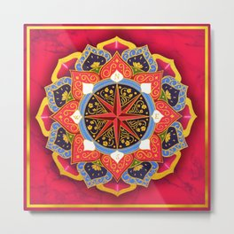 """Rose of the Winds"" Pink mandala by Ilse Quezada Metal Print"